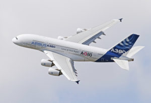 Airbus A380 maneuvering in airshow